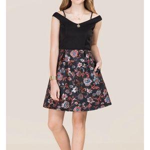 Francesca's Off Shoulder Brocade A-line Dress XS